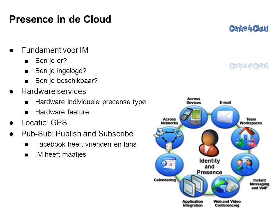 Page  30 Presence in de Cloud  Fundament voor IM  Ben je er?  Ben je ingelogd?  Ben je beschikbaar?  Hardware services  Hardware individuele pr