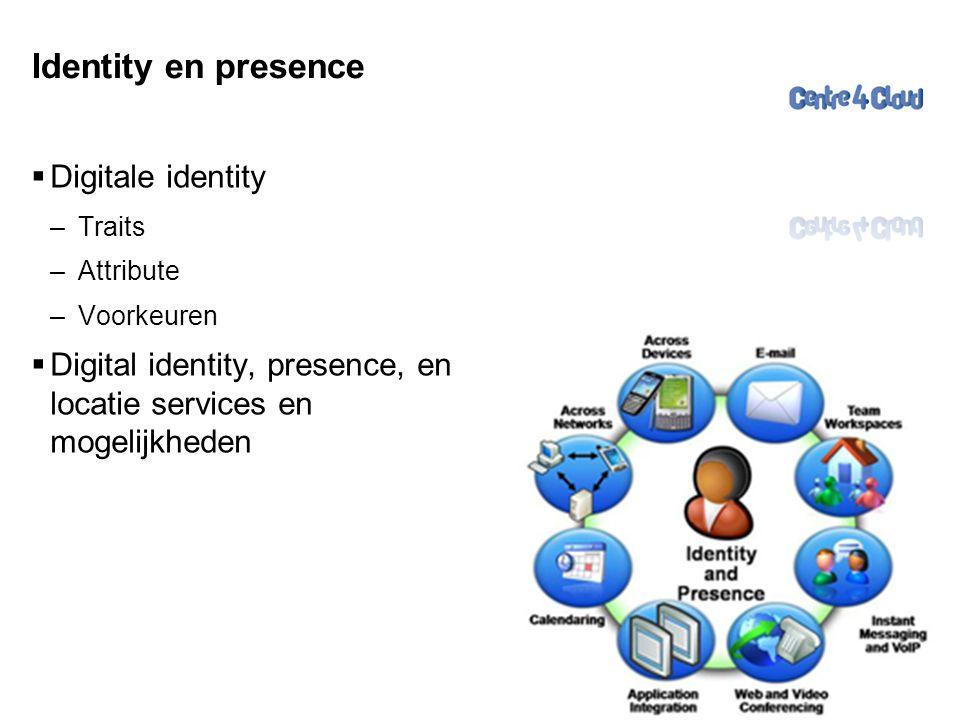 Page  31 Identity en presence  Digitale identity –Traits –Attribute –Voorkeuren  Digital identity, presence, en locatie services en mogelijkheden 31