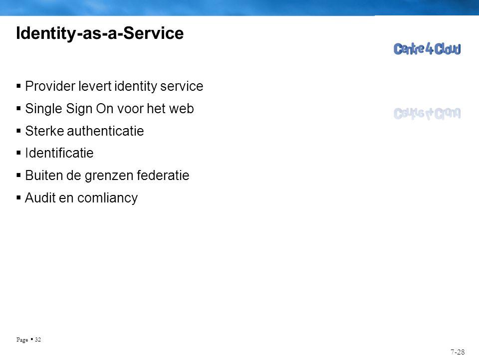 Page  32 Identity-as-a-Service  Provider levert identity service  Single Sign On voor het web  Sterke authenticatie  Identificatie  Buiten de grenzen federatie  Audit en comliancy 7-28
