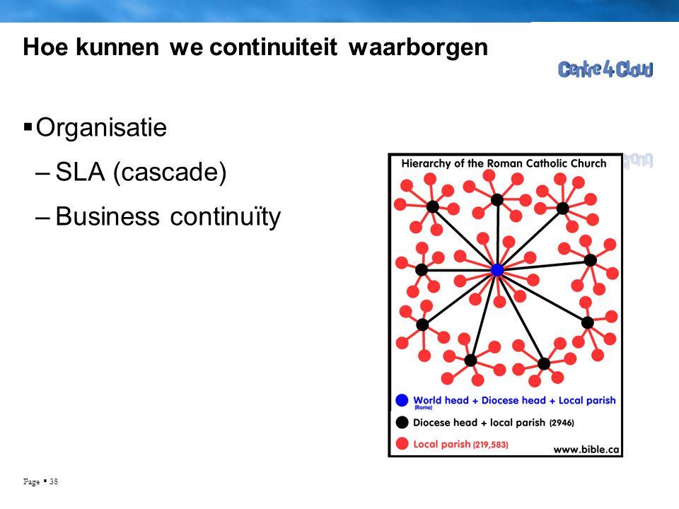 Page  38 Hoe kunnen we continuiteit waarborgen  Organisatie –SLA (cascade) –Business continuïty