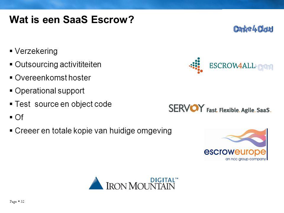 Page  52 Wat is een SaaS Escrow?  Verzekering  Outsourcing activititeiten  Overeenkomst hoster  Operational support  Test source en object code