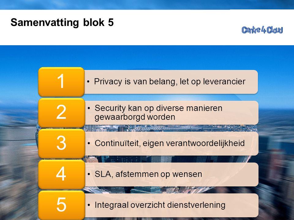 Page  57 Samenvatting blok 5 Ruud Ramakers •Privacy is van belang, let op leverancier 1 •Security kan op diverse manieren gewaarborgd worden 2 •Continuïteit, eigen verantwoordelijkheid 3 •SLA, afstemmen op wensen 4 •Integraal overzicht dienstverlening 5
