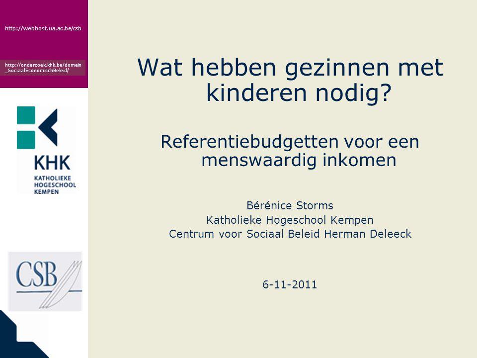 www.khk.be http://webhost.ua.ac.be/csb http://onderzoek.khk.be/domein _SociaalEconomischBeleid/ Maatschappelijke participatie: adequaat vervullen sociale rollen = bijhoren én bijdragen Gezondheid: • Gezonde voeding  Geschikte kleding  Adequate huisvesting  Gezondheidszorg en persoonlijke verzorging  Rust  Ontspanning Autonomie: • Veilige kindertijd  Betekenisvolle relaties  Mobiliteit • Veiligheid