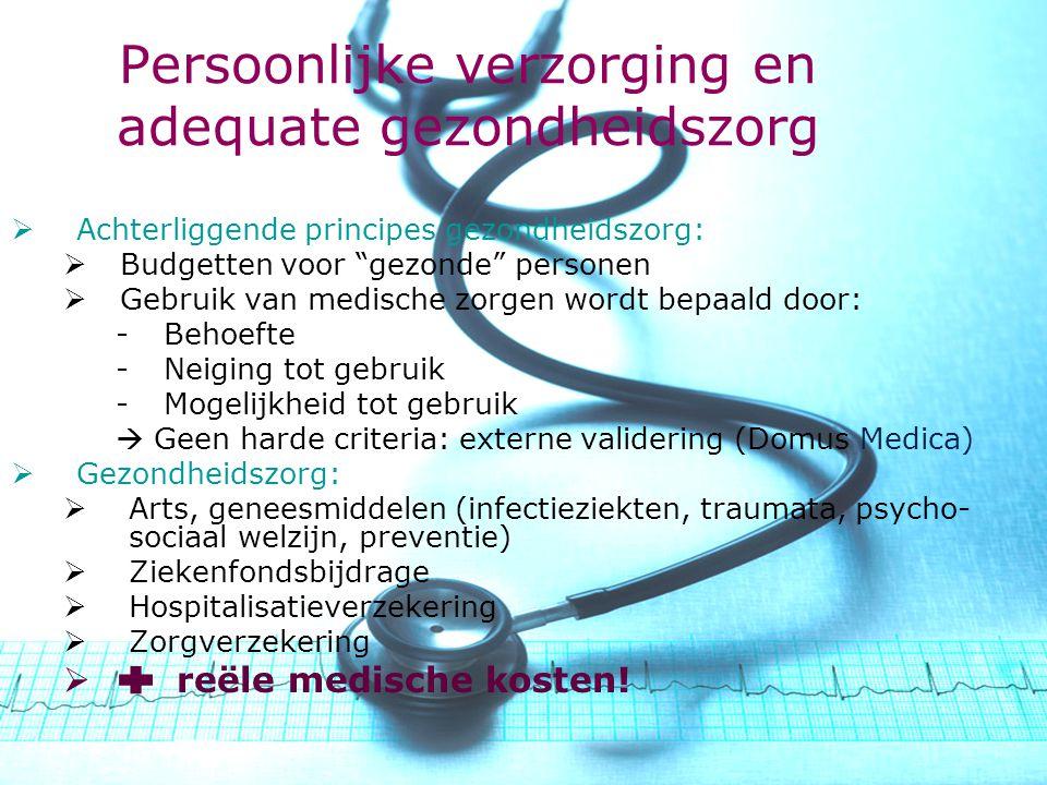 www.khk.be http://webhost.ua.ac.be/csb http://onderzoek.khk.be/domein _SociaalEconomischBeleid/ Persoonlijke verzorging en adequate gezondheidszorg  Achterliggende principes gezondheidszorg:  Budgetten voor gezonde personen  Gebruik van medische zorgen wordt bepaald door: -Behoefte -Neiging tot gebruik -Mogelijkheid tot gebruik  Geen harde criteria: externe validering (Domus Medica)  Gezondheidszorg:  Arts, geneesmiddelen (infectieziekten, traumata, psycho- sociaal welzijn, preventie)  Ziekenfondsbijdrage  Hospitalisatieverzekering  Zorgverzekering  reële medische kosten!