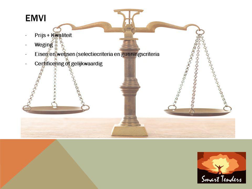EMVI -Prijs + Kwaliteit -Weging -Eisen en wensen (selectiecriteria en gunningscriteria -Certificering of gelijkwaardig