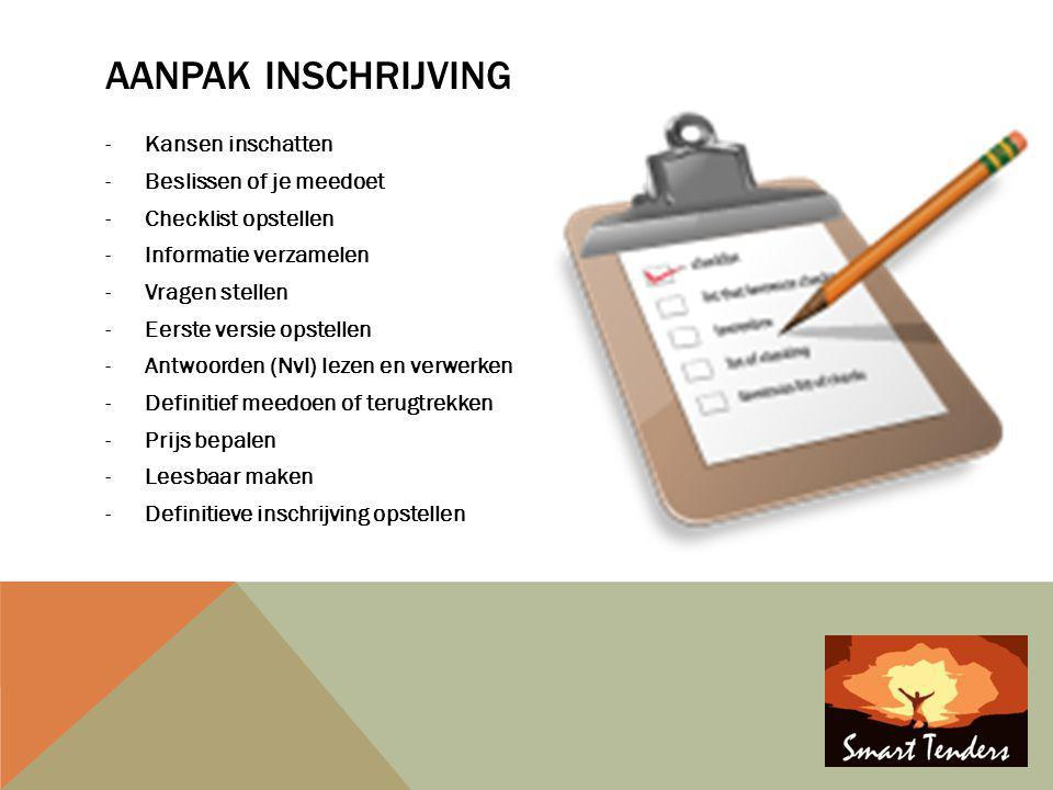AANPAK INSCHRIJVING -Kansen inschatten -Beslissen of je meedoet -Checklist opstellen -Informatie verzamelen -Vragen stellen -Eerste versie opstellen -