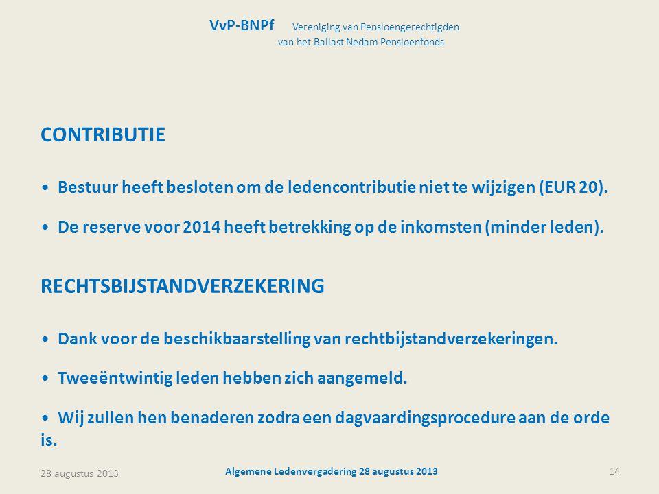 28 augustus 2013 Algemene Ledenvergadering 28 augustus 201314 VvP-BNPf Vereniging van Pensioengerechtigden van het Ballast Nedam Pensioenfonds CONTRIBUTIE • Bestuur heeft besloten om de ledencontributie niet te wijzigen (EUR 20).
