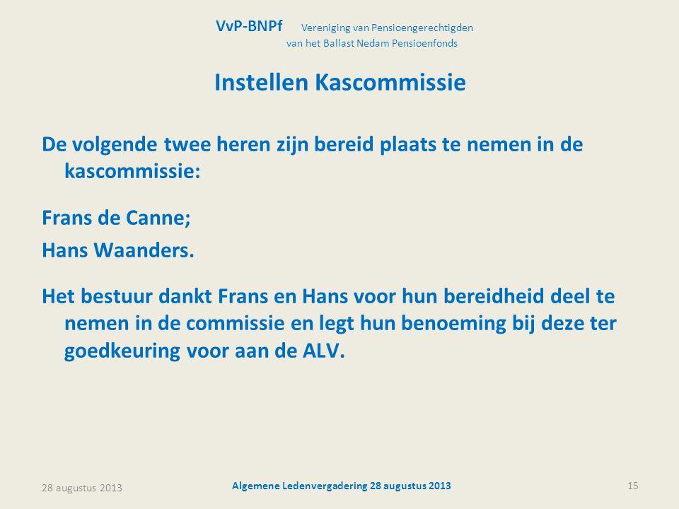 28 augustus 2013 Algemene Ledenvergadering 28 augustus 201315 Instellen Kascommissie De volgende twee heren zijn bereid plaats te nemen in de kascommissie: Frans de Canne; Hans Waanders.