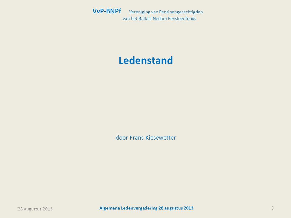 28 augustus 2013 Algemene Ledenvergadering 28 augustus 201344 VvP-BNPf Vereniging van Pensioengerechtigden van het Ballast Nedam Pensioenfonds Rondvraag