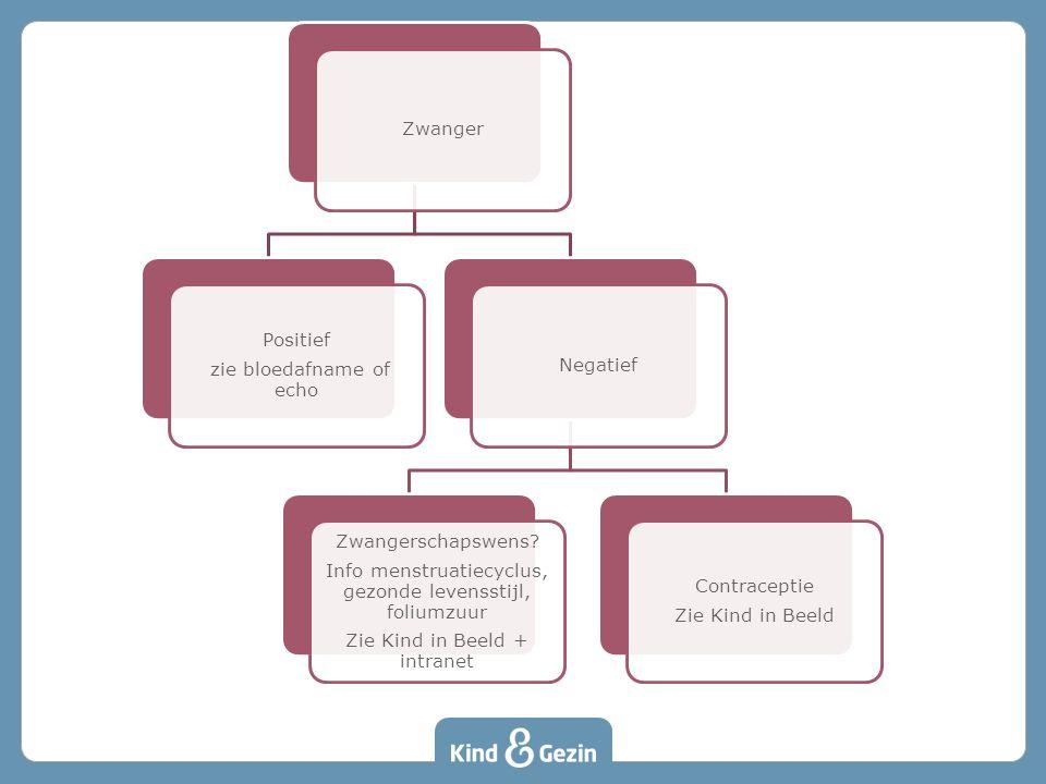 Zwanger Positief zie bloedafname of echo Negatief Zwangerschapswens? Info menstruatiecyclus, gezonde levensstijl, foliumzuur Zie Kind in Beeld + intra