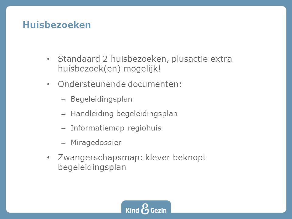 Huisbezoeken • Standaard 2 huisbezoeken, plusactie extra huisbezoek(en) mogelijk! • Ondersteunende documenten: – Begeleidingsplan – Handleiding begele