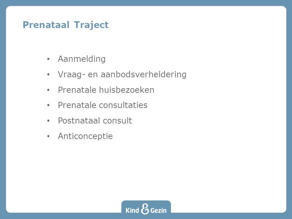 Prenataal Traject • Aanmelding • Vraag- en aanbodsverheldering • Prenatale huisbezoeken • Prenatale consultaties • Postnataal consult • Anticonceptie