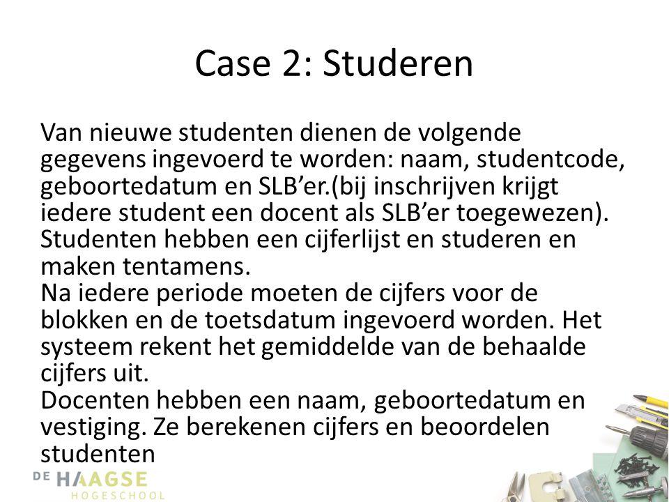 Case 2: Studeren Van nieuwe studenten dienen de volgende gegevens ingevoerd te worden: naam, studentcode, geboortedatum en SLB'er.(bij inschrijven kri