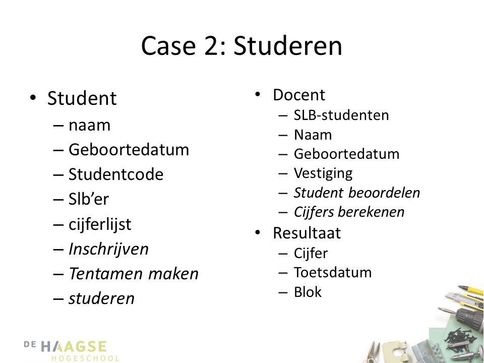 • Student – naam – Geboortedatum – Studentcode – Slb'er – cijferlijst – Inschrijven – Tentamen maken – studeren • Docent – SLB-studenten – Naam – Geboortedatum – Vestiging – Student beoordelen – Cijfers berekenen • Resultaat – Cijfer – Toetsdatum – Blok Case 2: Studeren