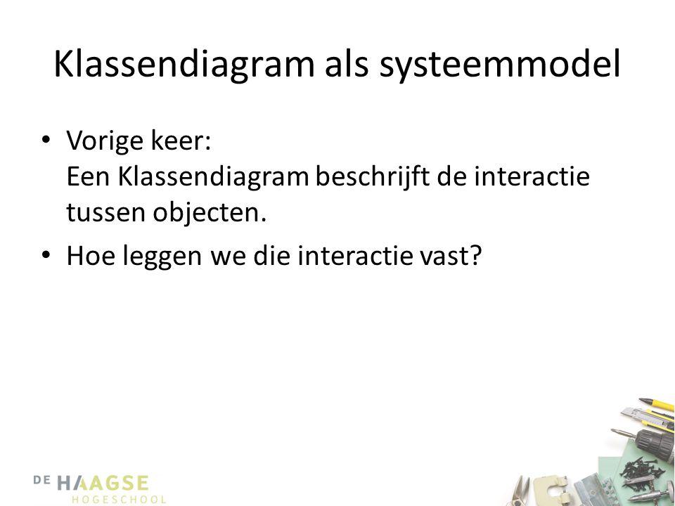 Klassendiagram als systeemmodel • Vorige keer: Een Klassendiagram beschrijft de interactie tussen objecten. • Hoe leggen we die interactie vast?