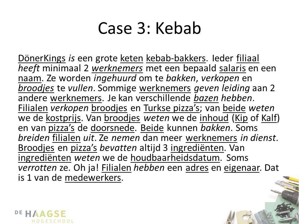 Case 3: Kebab DönerKings is een grote keten kebab-bakkers. Ieder filiaal heeft minimaal 2 werknemers met een bepaald salaris en een naam. Ze worden in