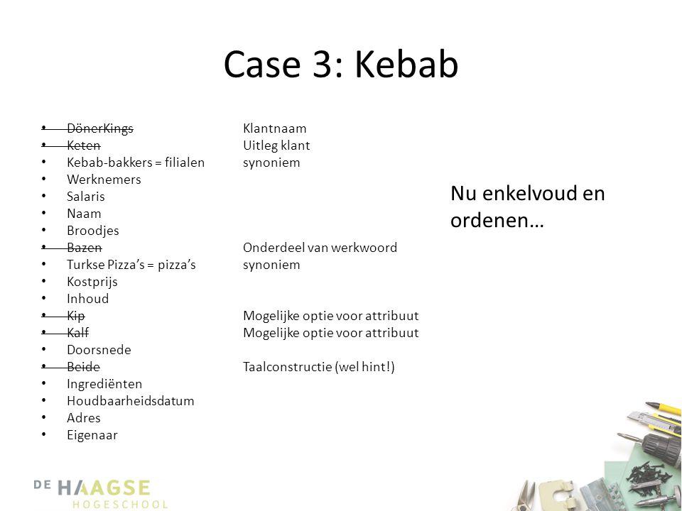 Case 3: Kebab • DönerKings • Keten • Kebab-bakkers = filialen • Werknemers • Salaris • Naam • Broodjes • Bazen • Turkse Pizza's = pizza's • Kostprijs • Inhoud • Kip • Kalf • Doorsnede • Beide • Ingrediënten • Houdbaarheidsdatum • Adres • Eigenaar Klantnaam Uitleg klant synoniem Onderdeel van werkwoord synoniem Mogelijke optie voor attribuut Taalconstructie (wel hint!) Nu enkelvoud en ordenen…