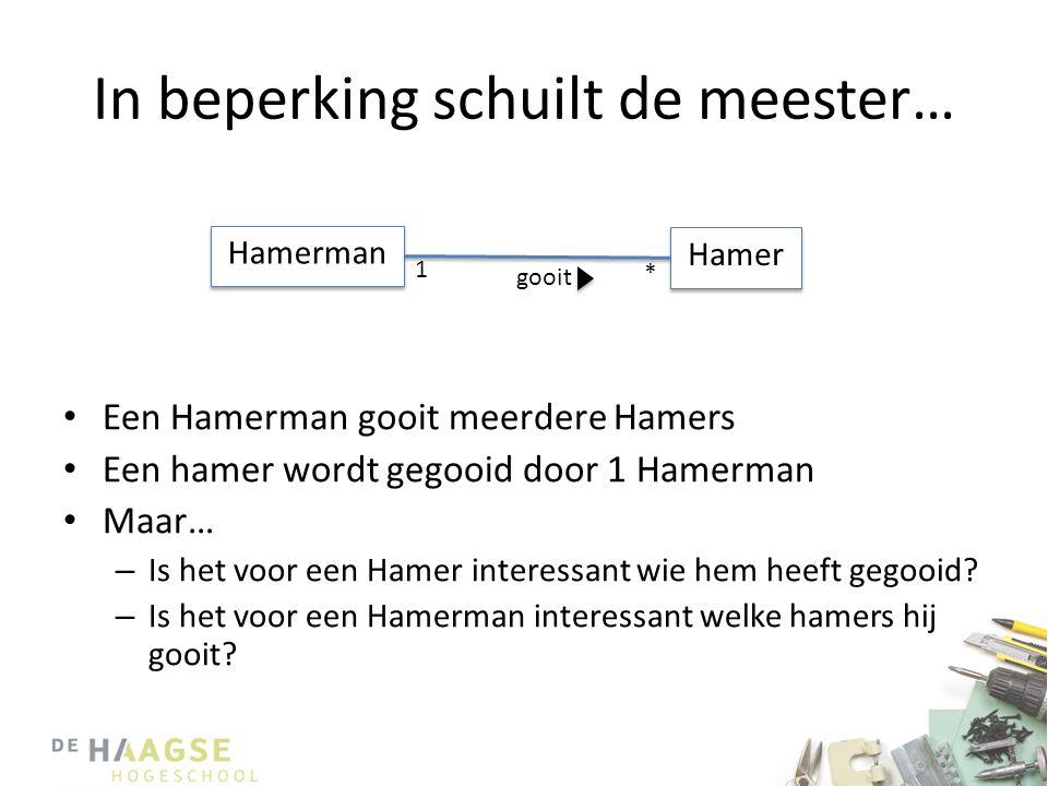 In beperking schuilt de meester… • Een Hamerman gooit meerdere Hamers • Een hamer wordt gegooid door 1 Hamerman • Maar… – Is het voor een Hamer interessant wie hem heeft gegooid.