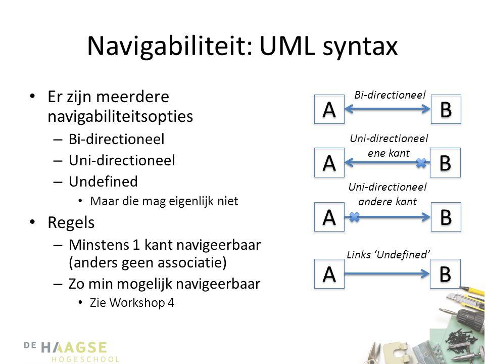 Navigabiliteit: UML syntax • Er zijn meerdere navigabiliteitsopties – Bi-directioneel – Uni-directioneel – Undefined • Maar die mag eigenlijk niet • Regels – Minstens 1 kant navigeerbaar (anders geen associatie) – Zo min mogelijk navigeerbaar • Zie Workshop 4 A A A A B B A A A A B B B B B B Bi-directioneel Uni-directioneel ene kant Uni-directioneel andere kant Links 'Undefined'