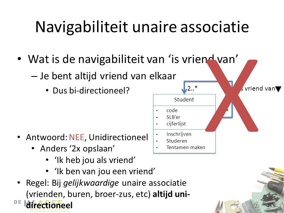 Navigabiliteit unaire associatie • Wat is de navigabiliteit van 'is vriend van' – Je bent altijd vriend van elkaar • Dus bi-directioneel.