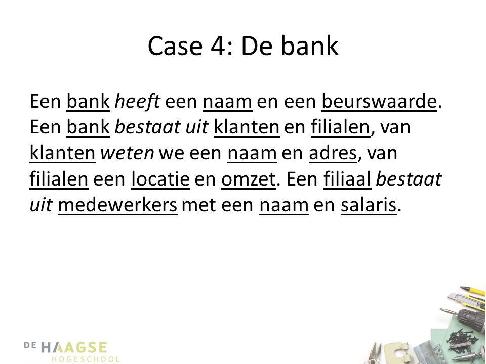 Case 4: De bank Een bank heeft een naam en een beurswaarde. Een bank bestaat uit klanten en filialen, van klanten weten we een naam en adres, van fili