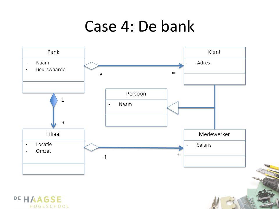 Case 4: De bank Bank -Naam -Beurswaarde -Naam -Beurswaarde * * Filiaal -Locatie -Omzet -Locatie -Omzet Persoon -Naam Medewerker -Salaris Klant -Adres * 1 * 1