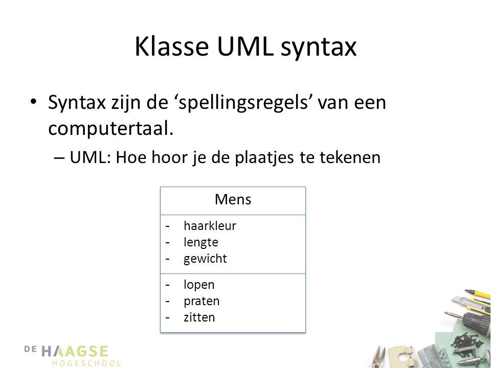 Klasse UML syntax • Syntax zijn de 'spellingsregels' van een computertaal. – UML: Hoe hoor je de plaatjes te tekenen Mens -haarkleur -lengte -gewicht