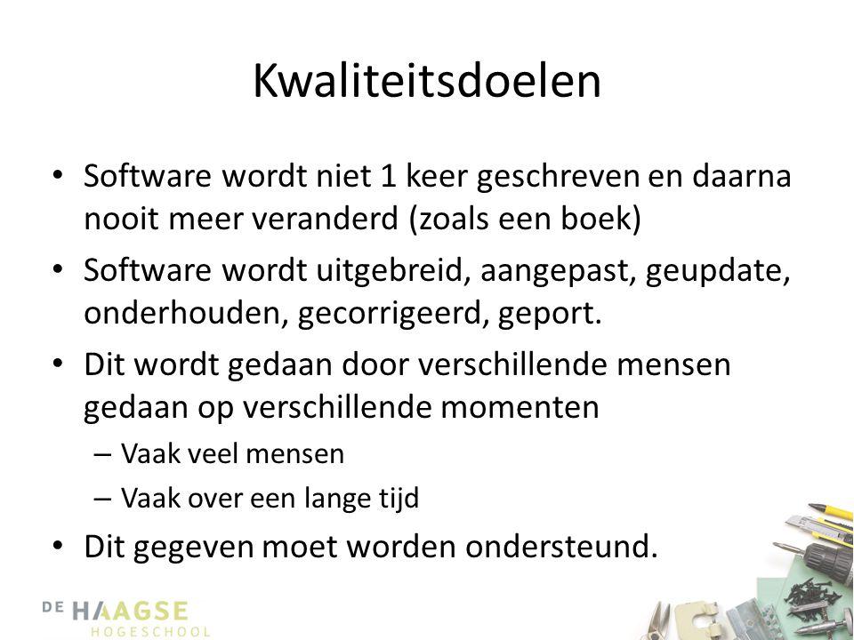 Kwaliteitsdoelen • Software wordt niet 1 keer geschreven en daarna nooit meer veranderd (zoals een boek) • Software wordt uitgebreid, aangepast, geupd