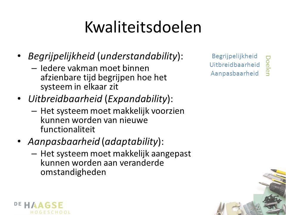Kwaliteitsdoelen • Begrijpelijkheid (understandability): – Iedere vakman moet binnen afzienbare tijd begrijpen hoe het systeem in elkaar zit • Uitbrei