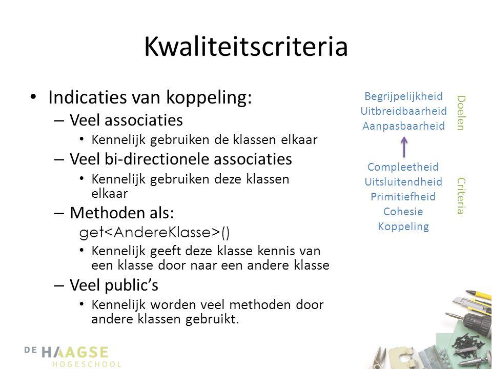 Kwaliteitscriteria • Indicaties van koppeling: – Veel associaties • Kennelijk gebruiken de klassen elkaar – Veel bi-directionele associaties • Kenneli