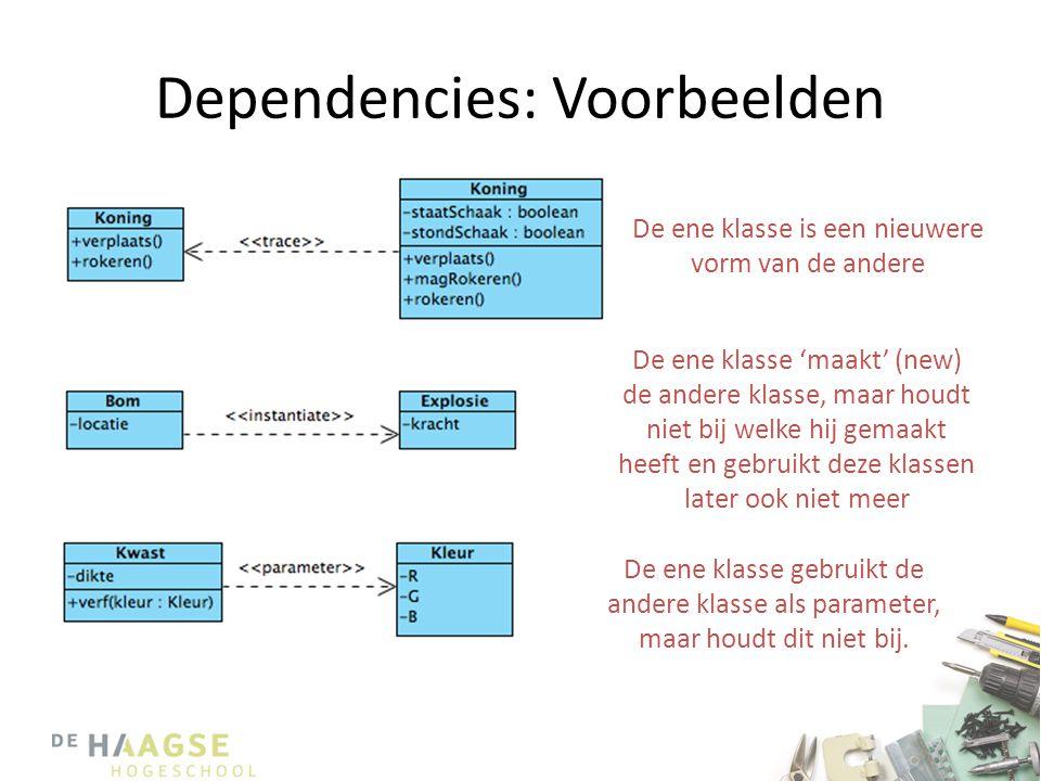 Dependencies: Voorbeelden De ene klasse is een nieuwere vorm van de andere De ene klasse 'maakt' (new) de andere klasse, maar houdt niet bij welke hij gemaakt heeft en gebruikt deze klassen later ook niet meer De ene klasse gebruikt de andere klasse als parameter, maar houdt dit niet bij.