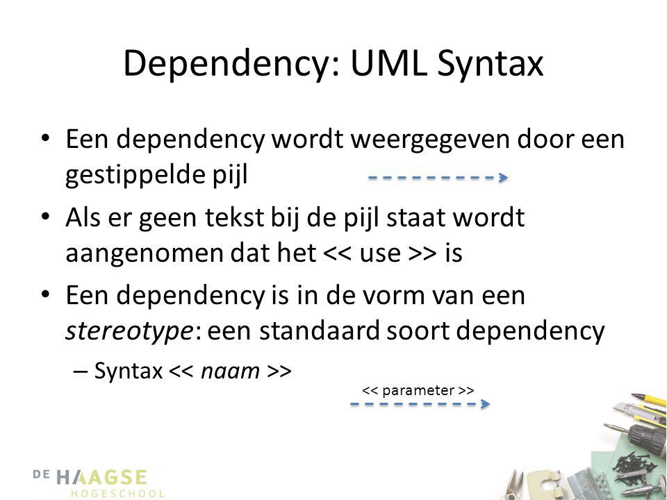 Dependency: UML Syntax • Een dependency wordt weergegeven door een gestippelde pijl • Als er geen tekst bij de pijl staat wordt aangenomen dat het > is • Een dependency is in de vorm van een stereotype: een standaard soort dependency – Syntax > >