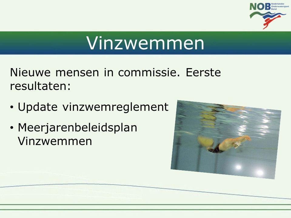 Vinzwemmen Nieuwe mensen in commissie. Eerste resultaten: • Update vinzwemreglement • Meerjarenbeleidsplan Vinzwemmen