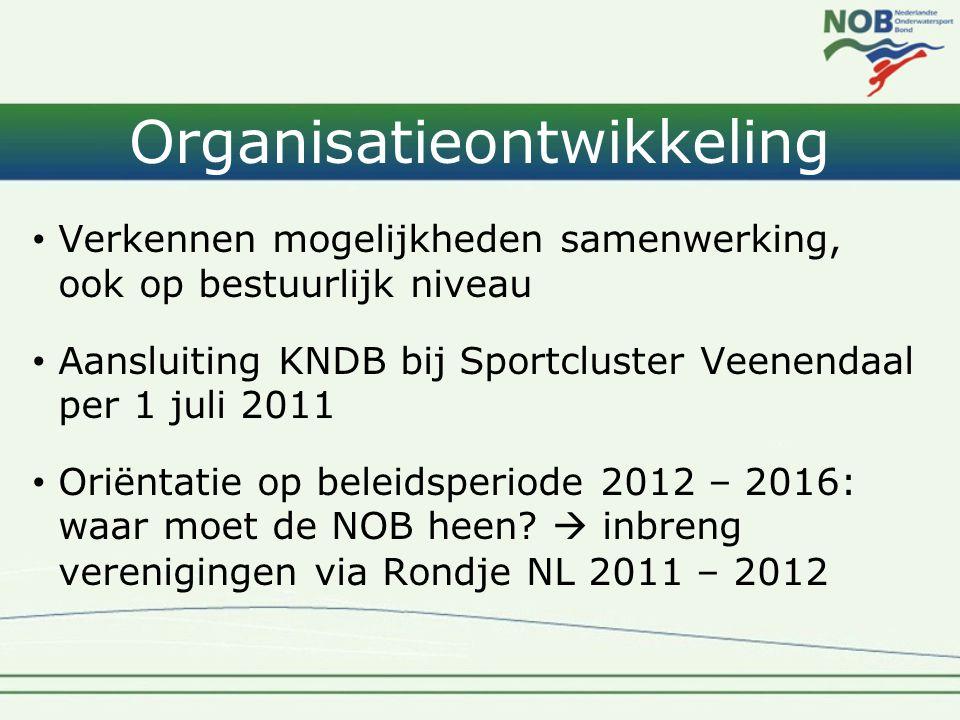 Organisatieontwikkeling • Verkennen mogelijkheden samenwerking, ook op bestuurlijk niveau • Aansluiting KNDB bij Sportcluster Veenendaal per 1 juli 2011 • Oriëntatie op beleidsperiode 2012 – 2016: waar moet de NOB heen.