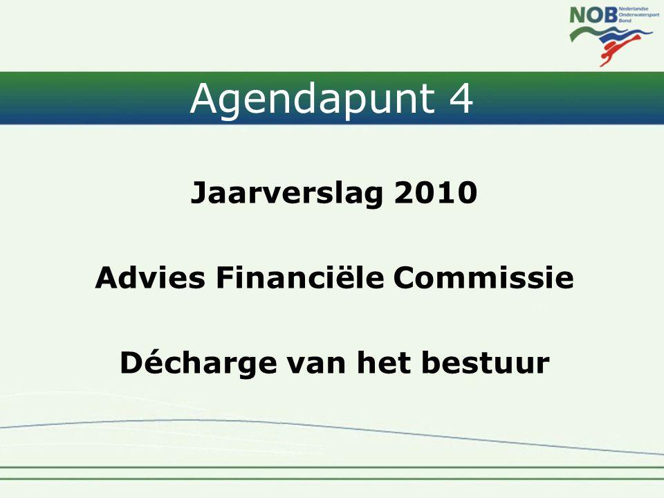 Agendapunt 4 Jaarverslag 2010 Advies Financiële Commissie Décharge van het bestuur