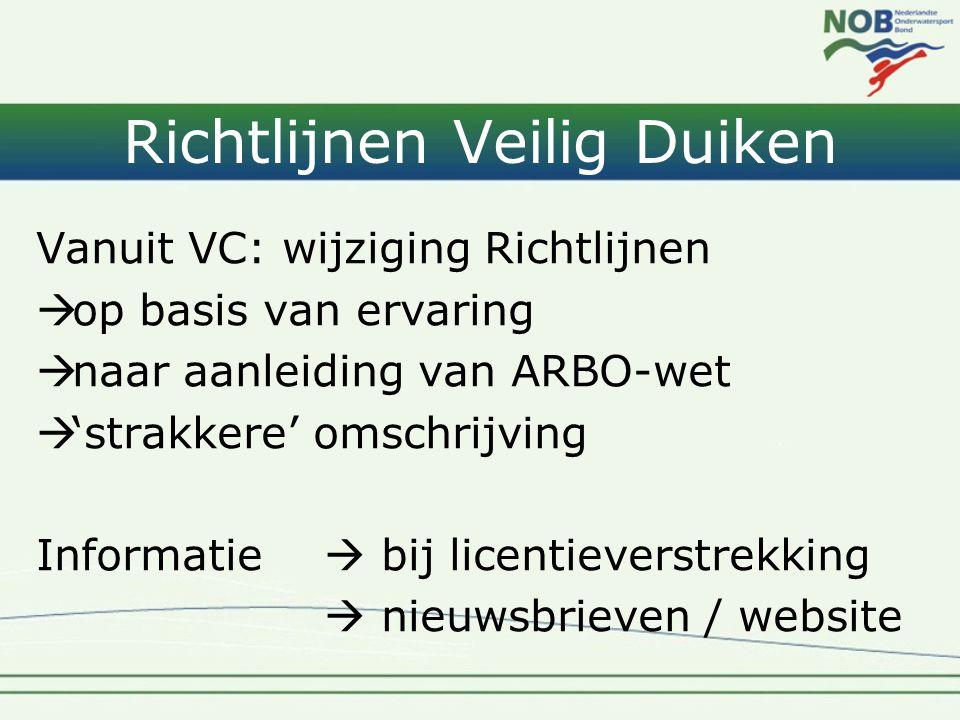 Richtlijnen Veilig Duiken Vanuit VC: wijziging Richtlijnen  op basis van ervaring  naar aanleiding van ARBO-wet  'strakkere' omschrijving Informatie  bij licentieverstrekking  nieuwsbrieven / website