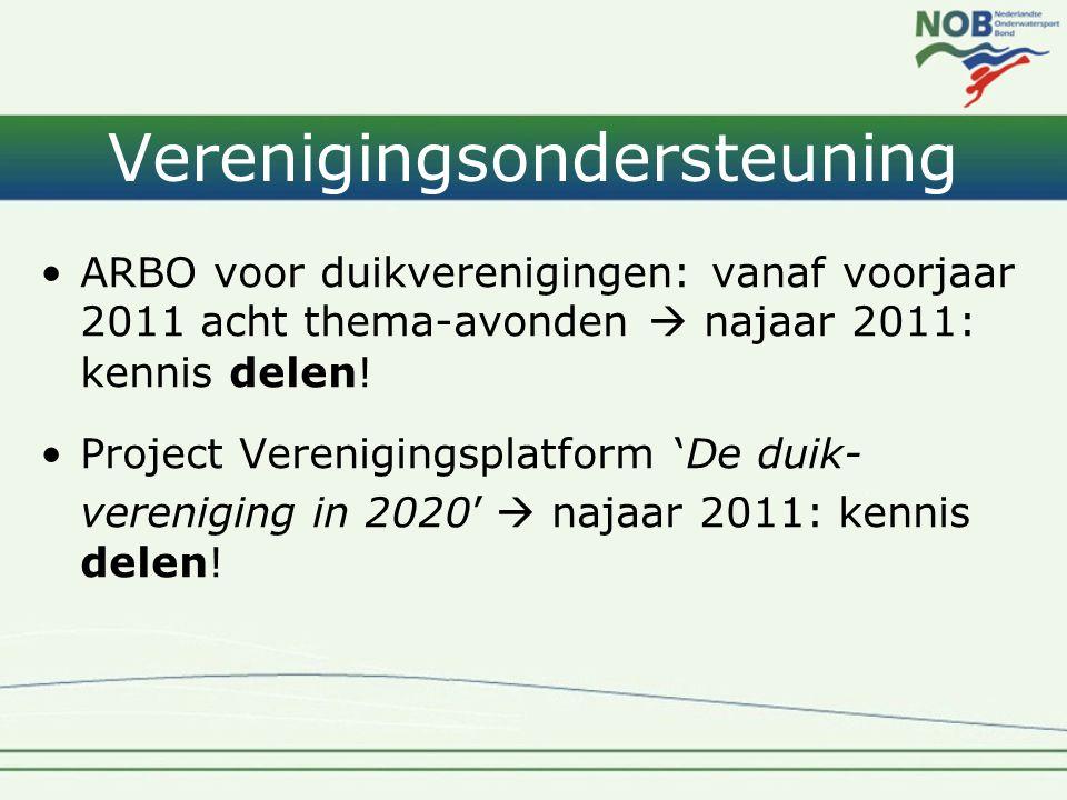 Verenigingsondersteuning •ARBO voor duikverenigingen: vanaf voorjaar 2011 acht thema-avonden  najaar 2011: kennis delen! •Project Verenigingsplatform