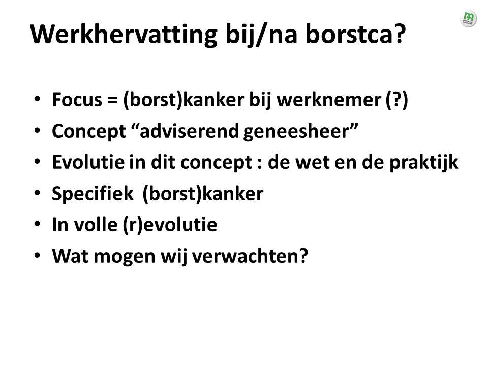 """Werkhervatting bij/na borstca? • Focus = (borst)kanker bij werknemer (?) • Concept """"adviserend geneesheer"""" • Evolutie in dit concept : de wet en de pr"""