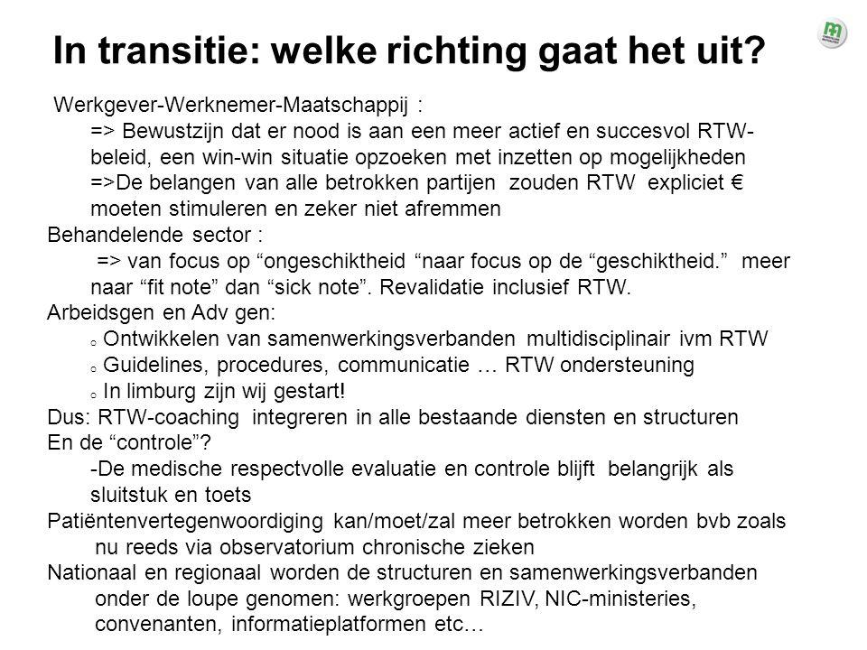 Werkgever-Werknemer-Maatschappij : => Bewustzijn dat er nood is aan een meer actief en succesvol RTW- beleid, een win-win situatie opzoeken met inzett