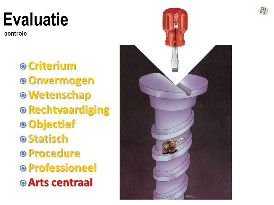  Criterium  Onvermogen  Wetenschap  Rechtvaardiging  Objectief  Statisch  Procedure  Professioneel  Arts centraal Evaluatie controle
