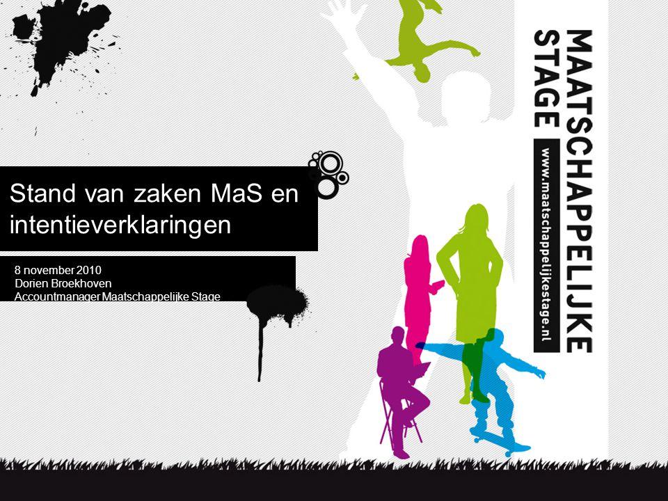Stand van zaken MaS en intentieverklaringen 8 november 2010 Dorien Broekhoven Accountmanager Maatschappelijke Stage