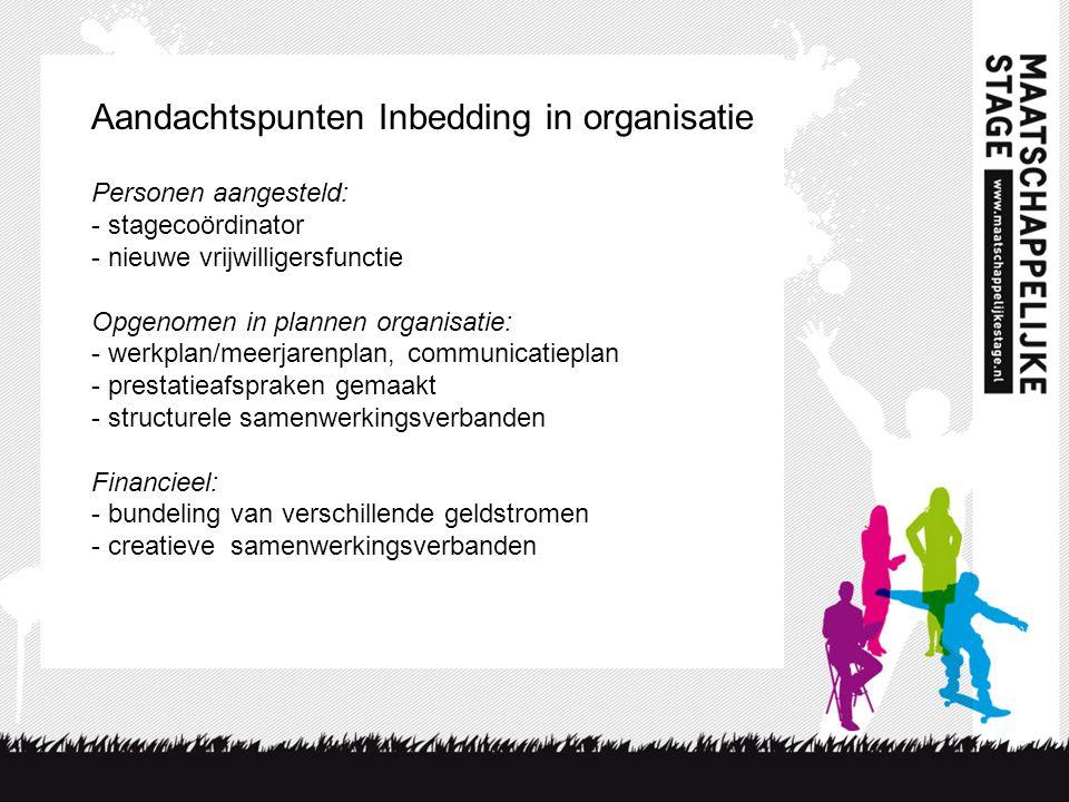 Aandachtspunten Inbedding in organisatie Personen aangesteld: - stagecoördinator - nieuwe vrijwilligersfunctie Opgenomen in plannen organisatie: - wer