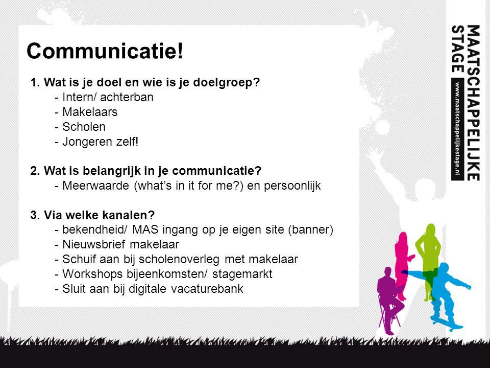Communicatie! 1. Wat is je doel en wie is je doelgroep? - Intern/ achterban - Makelaars - Scholen - Jongeren zelf! 2. Wat is belangrijk in je communic