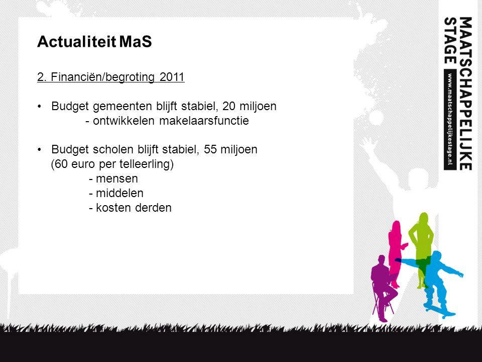 2. Financiën/begroting 2011 • Budget gemeenten blijft stabiel, 20 miljoen - ontwikkelen makelaarsfunctie • Budget scholen blijft stabiel, 55 miljoen (