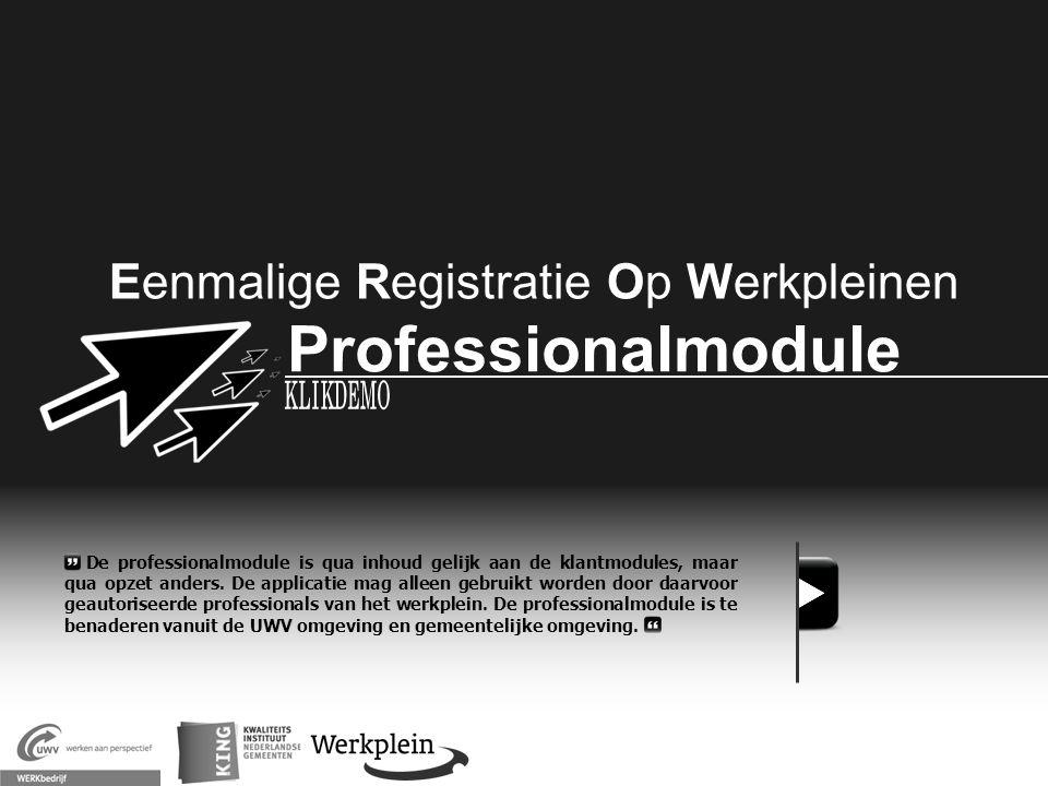 Eenmalige Registratie Op Werkpleinen Professionalmodule X De professionalmodule is qua inhoud gelijk aan de klantmodules, maar qua opzet anders. De ap