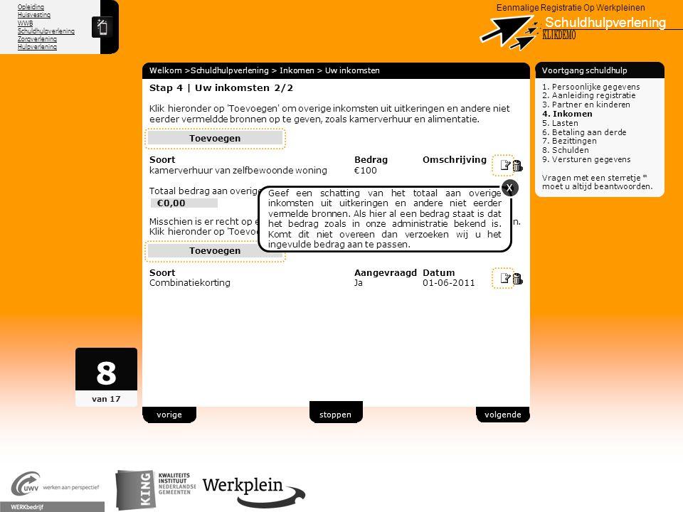 Opleiding Huisvesting WWB Schuldhulpverlening Zorgverlening Hulpverlening X Eenmalige Registratie Op Werkpleinen Schuldhulpverlening Welkom >Schuldhul