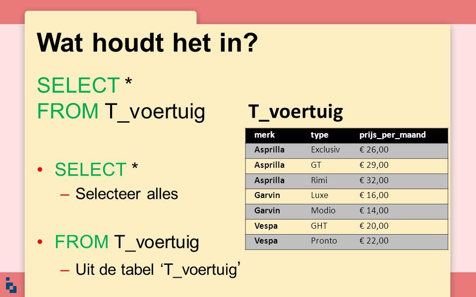 Wat houdt het in? SELECT * FROM T_voertuig •SELECT * –Selecteer alles •FROM T_voertuig –Uit de tabel 'T_voertuig ' T_voertuig merktypeprijs_per_maand