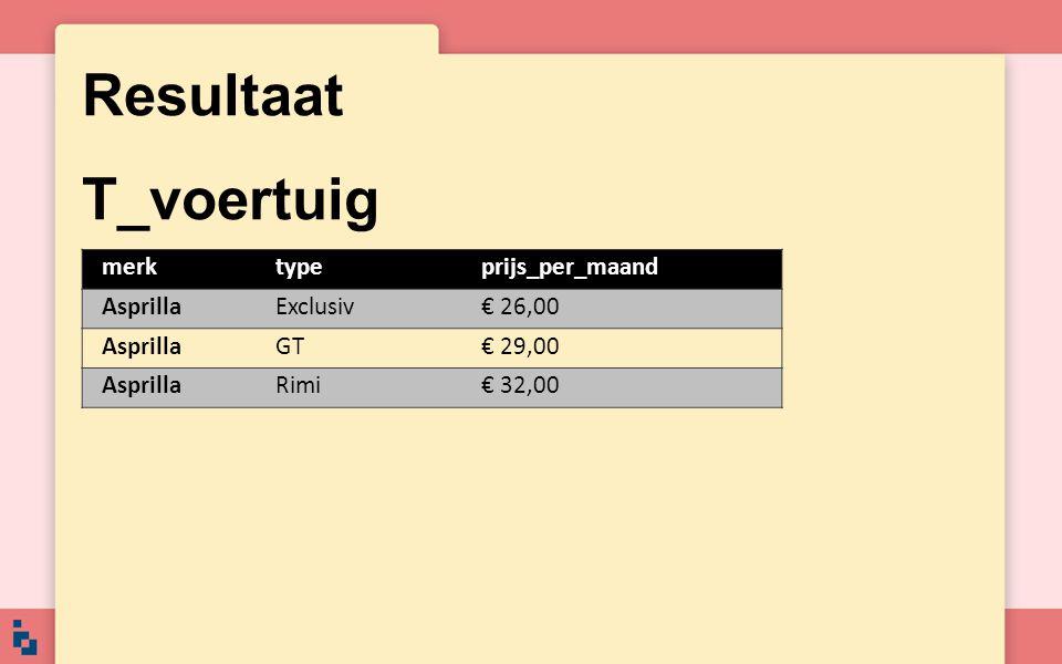 Resultaat T_voertuig merktypeprijs_per_maand AsprillaExclusiv€ 26,00 AsprillaGT€ 29,00 AsprillaRimi€ 32,00