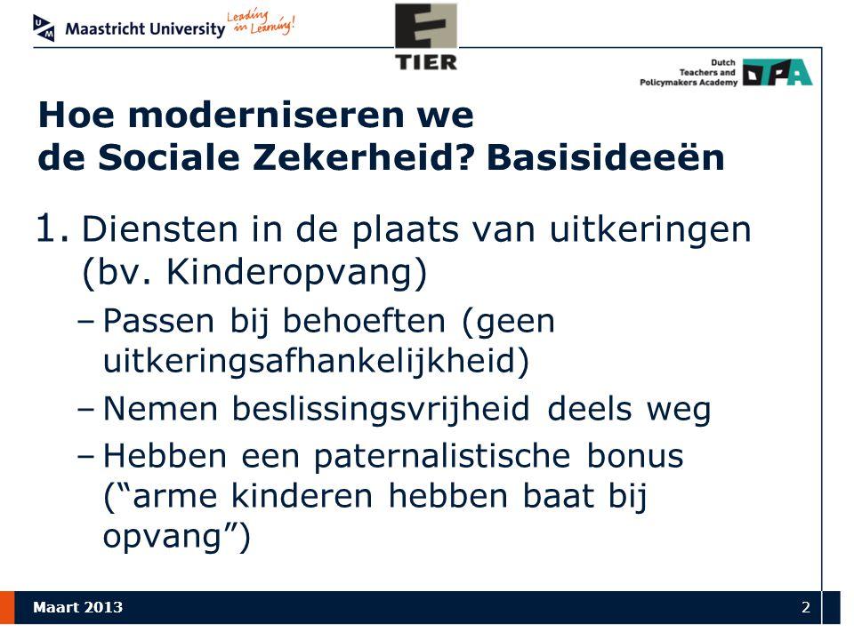 Maart 2013 2 Hoe moderniseren we de Sociale Zekerheid.