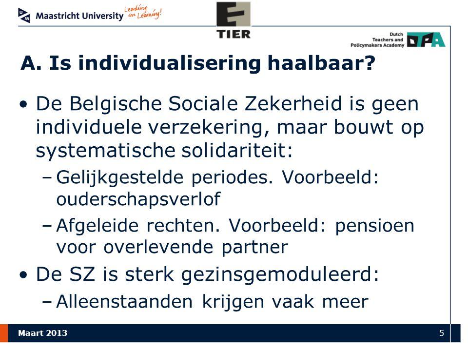 Maart 2013 5 A.Is individualisering haalbaar.